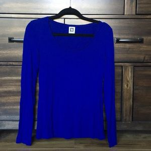 Anne Klein blue long sleeve basic
